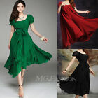 Women Maxi Pleated Chic Chiffon Vintage Long Ball Party Irregular Evening Dress