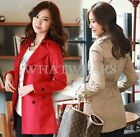 Fashion Womens Double-breasted Slim Fit Lapel Trench Coats 3 Colors S~XXL HUK