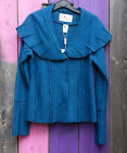 HEART BOILED WOOL LAGENLOOK SHORT FITTED PANELLED JACKET SHAWL COLLAR PETROL NWT