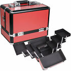 Red Smooth 6 Trays Makeup Cosmetic Train Case Aluminum Box C3002 Organizer Kit
