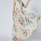 Ladies Chiffon Sleeveless Butterfly Pattern Elegant Dresses Prom Party  Dress F