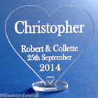 Personalised wedding name place table setting cards Love Heart Clear acrylic