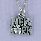 New York Letters Pewter Charm on Plated Cable Chain Big Apple Manhattan City