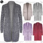 Womens Crochet Cable Knitted Ladies Chunky Long Open Boyfriend Cardigan Top