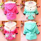 Baby Kids Girls Outwear Jacket Snowsuit Rabbit Strawberry Pint Winter Coat 2-5T