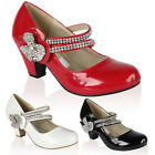 NEW GIRLS PATENT KIDS DIAMANTE LOW HEEL MARY JANE PARTY WEDDING SHOES SIZE 10-2
