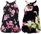 NEW WOMENS LADIES SEXY SLEEVELESS HALTER NECK COLLAR FLORAL VEST TOP 8-14