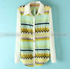 Womens Geometric Wavy Print Chiffon Long Sleeve Shirt Blouse Tops A2371 HUK