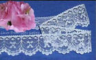 """12/24 Yards White Lace Trim 1-1/8"""" Scalloped Bows N91V Buy More-Ship No Charge"""