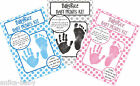 Next Gen. Baby Boy Girl Footprint Handprint Hand Prints Kit Pink Blue Black Gift