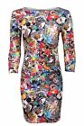 Women's 3 Quarter Sleeves Party Funky Crazy Print Ladies Bodycon Dress