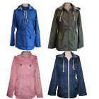 Ladies Raincoat Mac Fishtail Parka Festival plain showerproof Jacket sz 8-16