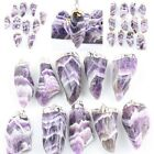 Natural Amethyst Quartz Crystal Chakra Gemstone Stone Bead Purple Pendant Charms