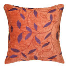 wh05a Red-Brown,Purple Leaf Embroidered Chenille Throw Pillow CASE/Cushion COVER