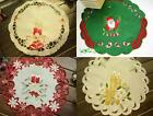 "13"" Round Christmas Home Decor Ornament Gift Embroidered Doily Table Place Mat"
