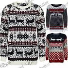 Womens Mens Unisex Sweater Reindeer Knitted Long Sleeve Pullover Long Jumper Top