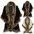 Ladies Faux Fur Trim Layered Batwing Sleeve Womens Single Clasp Cape Shawl