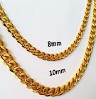"18""-30"" MEN's Stainless Steel 8mm 10mm 24k Gold Plated Cuban Link Chain Necklace"