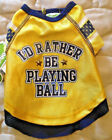 """""""I'd Rather Be Playing Ball"""" Dog Shirt - Yellow & Blue - XXS - Wag-a-tude - NWT"""