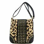 Leopard Cheetah Print Rhinestone Stud Crossbody Bag Messenger Tan+4Colors