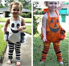 Baby girl kids children Halloween costume play cosplay pumpkin cute dress orange