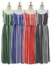 NWT Women Maxi Spaghetti Straps Elastic Waist Tank Dress Vertical Stripes Print