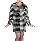 Hell Bunny Dogtooth Jackie O 60's Replica Vintage Retro Kelly Swing Coat XS-XL