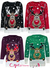 UNISEX WOMEN MENS KNITTED XMAS REINDEER PRINT SNOWFLAKES SWEATER JUMPER TOP 8-26