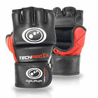 OPTIMUM Men Cowhide Leather Grappling Gloves MMA Sparring UFC Punch Cage Fight