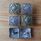 5 Metal Buttons - Patterned Square - Silver or Bronze Coloured - Knitting/Sewing