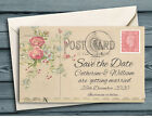 SAVE THE DATE MAGNETS Personalised - Vintage Mini Flower Postcard with Envelopes