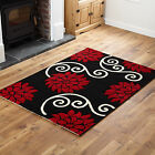SMALL - EXTRA LARGE FLOWER DESIGN BLACK RED HAND CARVED RED POLYPROPYLENE RUGS