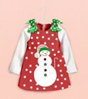 NEW Sweet Baby Girls Kids Cute Snowman Bowknot Christmas Party Dress Skirts 1-6Y