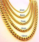 18 -30  Mens Stainless Steel 4mm-10mm 24K Gold Plated Cuban Link Chain Necklace