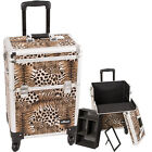 Pro Rolling Makeup Hairstylist Case 4 Wheel Rolling Upgradable Leopard E6301