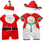 Baby Christmas Cloths Outfits Boy Girl Kids Romper Hat Cap Set Gift for 0-3Y CA