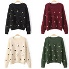 Lady Cute Knit Warm Horse Embroidered Loose Top Pullover Jumper Casual Sweater F