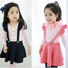 New Kids Girls Stretch Cotton Suspender Skirt Overalls Clothing Girls Dress CA