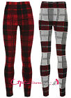 NEW WOMENS LADIES THICK CHUNKY KNITTED CHECK TARTAN LEGGINGS TROUSERS SIZE 8-14