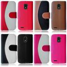 For ZTE Warp LTE N9510 Two Tone Leather Flip Credit Card Holder Cover Case