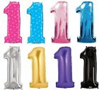 "34"" SUPERSHAPE GIANT FOIL BALLOON NUMBER 1 / ONE 1st BIRTHDAY PARTY DECORATION"