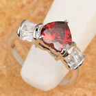 HEART RED GARNET 18k Platinum Plated Silver RING SizeSelect T6696