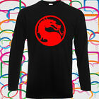 MORTAL KOMBAT VIDEO GAME AND MOVIE LOGO Long Sleeve Black T-Shirt Size S-3XL