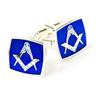 Freemasons 925 Silver Plated cufflinks Blue Black Enamel Masons Gift Regalia