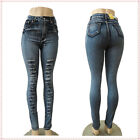 Sexy Blue High Waist Casual Slim Pencil Tights Stretch Skinny Women Jeans Pants
