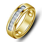 14K Gold Plated 925 Silver American Diamonds Men's Band Ring Rs 1815 only