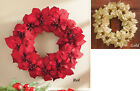 "Collections Etc 20"" Glittery Holiday Poinsettia Wreath Decoration"