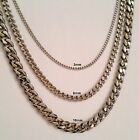 "18"" to 30"" Men's Stainless Steel 3mm 6mm 10mm Silver Cuban Link Chain Necklace"
