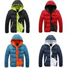 Men's Winter Hoodie Padded Bubble Puffer Parka Jacket Cotton Coat Black/Red/Blue