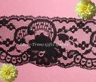 """Lace Trim Black Roses 2-3/4"""" Scalloped Floral Fabric M127DV More Ship Free BTY"""